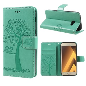Imprint Tree Owl Magnetic Wallet Leather Stand Casing for Samsung Galaxy A5 (2017) SM-A520F - Green