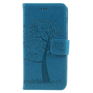Imprint Tree Owl Magnetic Wallet Leather Stand Phone Case for Samsung Galaxy A5 (2017) SM-A520F - Blue
