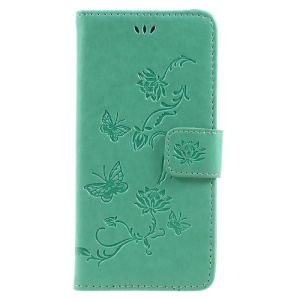 Imprint Butterfly and Flower Leather Flip Phone Case with Stand for Samsung Galaxy A5 (2017) SM-A520F - Green