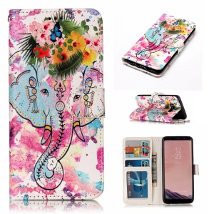 Pattern Printing Embossed Leather Phone Flip Case for Samsung Galaxy S8 G950 - Elephant