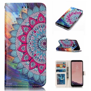 Pattern Printing Embossed Leather Mobile Phone Casing for Samsung Galaxy S8 Plus G955 - Flower