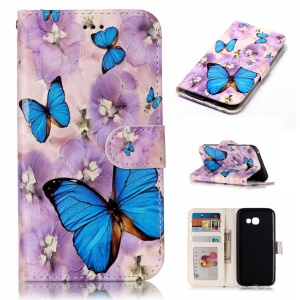 Pattern Printing Embossed Leather Protective Cell Phone Shell for Samsung Galaxy A5 (2017) SM-A520 - Butterfly