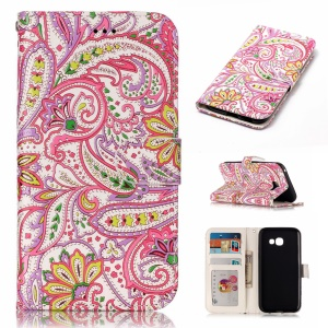 Pattern Printing Embossed Leather Protective Phone Case with Stand for Samsung Galaxy A5 (2017) SM-A520 - Abstract Leaves and Flowers