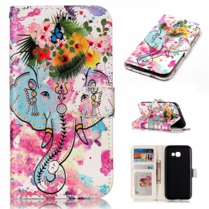 Magnetic Pattern Printing Embossed Leather Protective Stand Phone Case for Samsung Galaxy A5 (2017) SM-A520 - Elephant