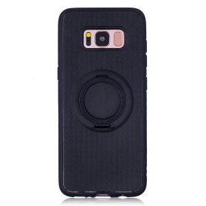 Soft Silicone Mobile Cover with Finger Ring Holder for Samsung Galaxy S8 SM-G950 - Black