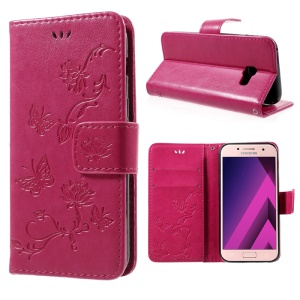 Imprint Butterfly Flowers Magnetic PU Wallet Stand Leather Case for Samsung Galaxy A3 (2017) - Rose
