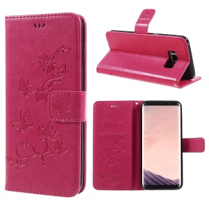 Imprint Butterfly Flower Wallet Stand Leather Flip Case for Samsung Galaxy S8 SM-G950 with Strap - Rose