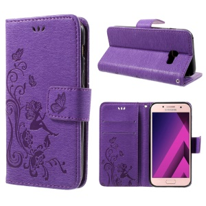 Imprint Elf Butterfly Flowers Magnetic Wallet Leather Stand Case for Samsung Galaxy A3 (2017) - Purple