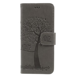Imprint Tree Owl Magnetic Wallet PU Leather Stand Shell for Samsung Galaxy S8 SM-G950 - Grey
