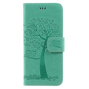 Imprint Tree Owl Magnetic Wallet PU Leather Stand Cell Phone Casing for Samsung Galaxy S8 SM-G950 - Cyan