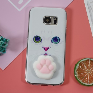 Squishy Phone 3D Silicone Pinch Cat Paw TPU Cover Shell for Samsung Galaxy S7 SM-G930 - Cat Pattern