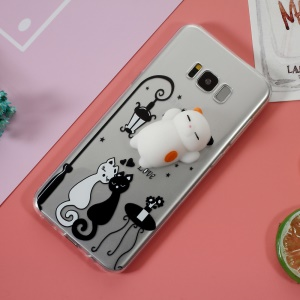 Squishy 3D Silicone Cat TPU Case Shell for Samsung Galaxy S8 SM-G950 - Black and White Cat