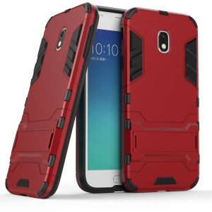 Cool Guard Plastic TPU Cell Phone Back Case with Kickstand for Samsung Galaxy J3 (2017) EU Version - Red