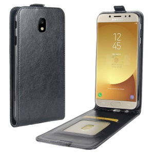 Crazy Horse Vertical Flip Leather Cell Phone Case with Card/Photo Slot for Samsung Galaxy J7 (2017) EU / Asia Version - Black