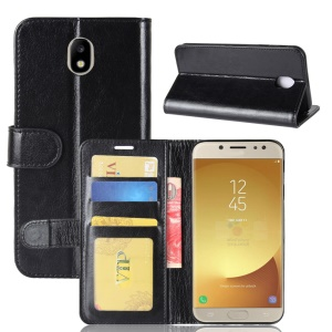Crazy Horse Stand Wallet Leather Cell Phone Case for Samsung Galaxy J7 (2017) EU / Asia Version - Black