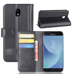 Genuine Split Leather Wallet Phone Shell with Stand for Samsung Galaxy J5 (2017) EU / Asia Version - Black