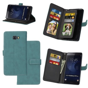 Matte Skin PU Leather Stand Wallet Phone Protection Casing Cover with 9 Card Slots for Samsung Galaxy C9 Pro - Blue