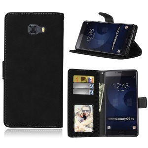 Matte Wallet Leather Stand Protection Mobile Phone Shell for Samsung Galaxy C9 Pro - Black