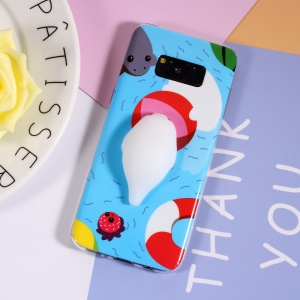 3D Silicone Cartoon IMD TPU Kneading Squishy Case for Samsung Galaxy S8 G950 - Sea Lion in the Water