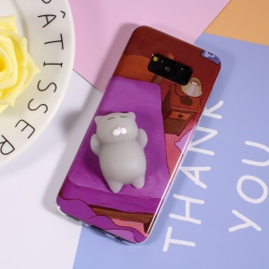 3D Squishy Silicone Cartoon IMD TPU Nail Pinch Case for Samsung Galaxy S8 Plus G955 - Cat Lying in Bed
