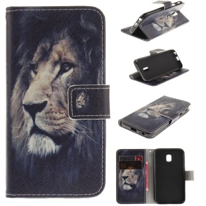 Pattern Printing Leather Wallet Stand Case para Samsung Galaxy J3 (2017) EU Version - Lion