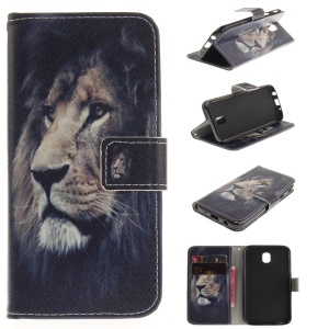 Pattern Printing Wallet Stand Leather Phone Shell with Magnet for Samsung Galaxy J5 (2017) EU Version - Lion
