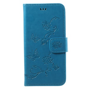 Imprint Butterfly Flower Magnetic Wallet PU Leather Cover with Stand for Samsung	Galaxy J3 (2017) EU / Asia Version - Blue
