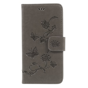 Imprint Butterfly Flower Magnetic Wallet PU Leather Stand Shell for Samsung	Galaxy J5 (2017) EU / Asia Version - Grey