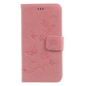 Imprint Butterfly Flower Magnetic Wallet PU Leather Stand Mobile Phone Cover for Samsung Galaxy J5 (2017) EU / Asia Version - Pink