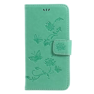 Imprint Butterfly Flower Magnetic Wallet PU Leather Stand Cell Phone Cover for SamsungGalaxy J5 (2017) EU / Asia Version - Cyan