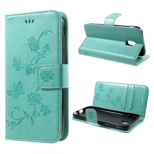 Imprint Butterfly Flower Magnetic Wallet PU Leather Stand Cover for SamsungGalaxy J7 (2017) EU / Asia Version - Cyan