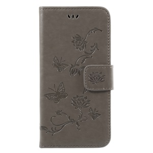Imprint Butterfly Flower Magnetic Wallet PU Leather Stand Shell for Samsung	Galaxy J7 (2017) EU / Asia Version - Grey