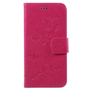 Imprint Butterfly Flower Magnetic Wallet PU Leather Stand Mobile Phone Cover for SamsungGalaxy J7 (2017) EU / Asia Version - Rose