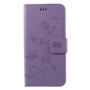 Imprint Butterfly Flower Magnetic Wallet PU Leather Case with Stand for SamsungGalaxy J7 (2017) EU / Asia Version - Purple