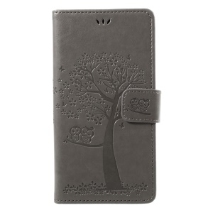 Imprint Tree Owl Magnetic Wallet PU Leather Stand Shell for Samsung Galaxy J7 (2017) EU / Asia Version - Grey