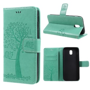 Imprint Tree Owl Magnetic Wallet PU Leather Stand Cover for Samsung Galaxy J5 (2017) EU / Asia Version - Cyan