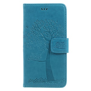 Imprint Tree Owl Wallet Leather Stand Cover for Samsung Galaxy J3 (2017) EU Version - Blue