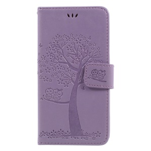 Imprint Tree Owl Magnetic Leather Stand Cover for Samsung Galaxy J3 (2017) EU Version - Purple