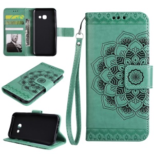 Imprinted Flower Pattern PU Leather Wallet Phone Case with Stand for Samsung Galaxy A3 (2017) - Green