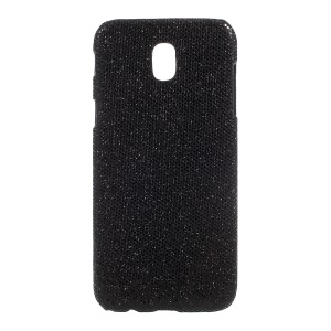 PU Leather Coated PC Mobile Back Cover for Samsung Galaxy J3 (2017) EU Version - Glitter Sequins / Black