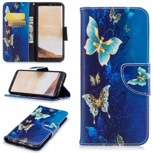 For Samsung Galaxy S8 G950 Pattern Printing Wallet Leather Mobile Phone Case with Stand - Blue Butterflies