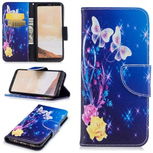 For Samsung Galaxy S8 G950 Pattern Printing Wallet Stand Leather Shell with Card Slots - Butterflies and Flowers