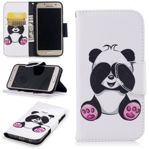 Pattern Printing Magnetic Stand Leather Wallet Protective Phone Casing for Samsung Galaxy A3 (2017) - Panda