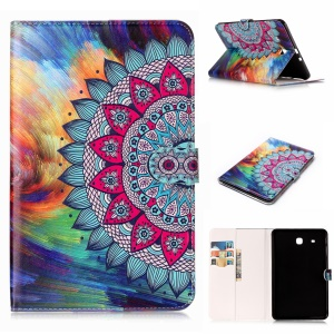For Samsung Galaxy Tab E 9.6 T560 Pattern Printing Embossed Leather Protective Accessory Cover - Abstract Pattern