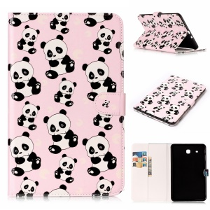 Pattern Printing Embossed Leather Protective Tablet Case Accessory for Samsung Galaxy Tab E 9.6 T560 - Panda
