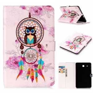 Pour Samsung Galaxy Tab E 9.6 T560 Impression sur motifs en relief Embossed Leather Protector Tablet Shell Accessoire - Owl and Dream Catcher