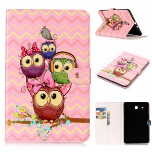 For Samsung Galaxy Tab E 9.6 T560 Pattern Printing Embossed Leather Protective Tablet Casing Accessory - Owls on the Branch
