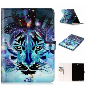Patterned Embossent Leder Brieftasche Stand Tablet Case für Samsung Galaxy Tab S3 9,7-Zoll T820-Tiger