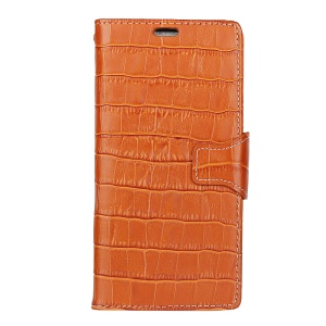 For Samsung Galaxy J3 (2017) EU Version Crocodile Grain Folio Wallet Genuine Leather Mobile Phone Shell with Stand - Light Brown