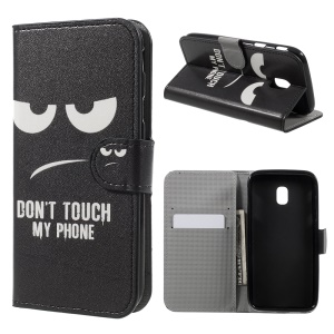 Pattern Printed Magnetic Stand PU Leather Case for Samsung Galaxy J3 (2017) EU Version - Angry Face